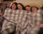 laughing gals in a blanket