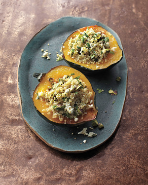 Stuffed Acorn Squash with Quinoa and Pistachios